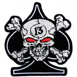 patch as pique crane pirate 13 ecusson tete de mort rock roll biker