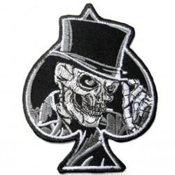patch as pique crane a chapeau ecusson tete de mort rock roll