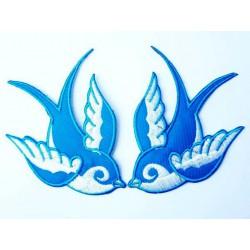 paire de patch hirondell bleu et blanche new school ideal pin up rockabilly