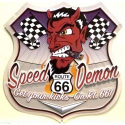 plaque blason speed demon devil diable diablo route 66  tole publicitaire rare