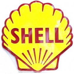 plaque coquillage shell   tole publicitaire rare en relief