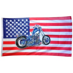 drapeau usa moto chopper bleu motorcycle etat unis 150x90 flag