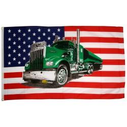 drapeau usa  etat unis  camion americain kenworth  ?  vert 150x90 flag