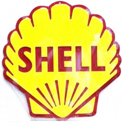 plaque blason coquilla shell 60cm  tole deco diner usa bar garage loft