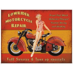 plaque pin up moto low rider 70x50cm tole deco us garage