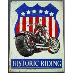 plaque moto historic riding 70x50cm tole deco garage