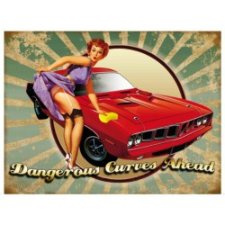 plaque pin up auto dangerous curves style année 50 70x50cm tole deco us garage