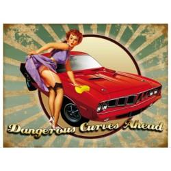 plaque pin up auto dangerous curves style année 50 70x50cm tole deco us garage
