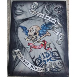 plaque pin up épaule tattoo tatouage 70x50cm tole deco us salon tatouage