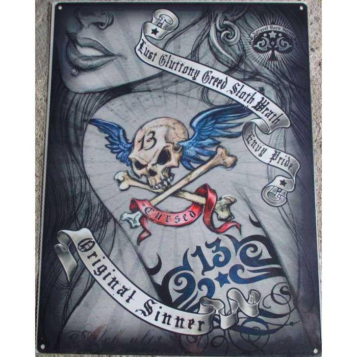 plaque pin up épaule tattoo tatouage 70x50cm tole deco us salon tatouage