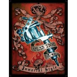 plaque machine a tatouer tattoo 70x50cm tole deco us salon tatouage
