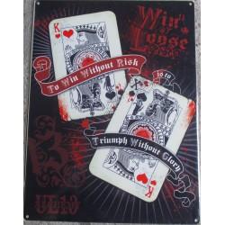 plaque  jeux de carte crane tetede mort poker 70x50cm tole deco us salon tatouage
