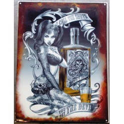 plaque  pin up et bouteille style tattoo 70x50cm tole deco us salon tatouage