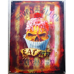 plaque  eat cupcake crane tete de mort 70x50cm tole deco us salon tatouage