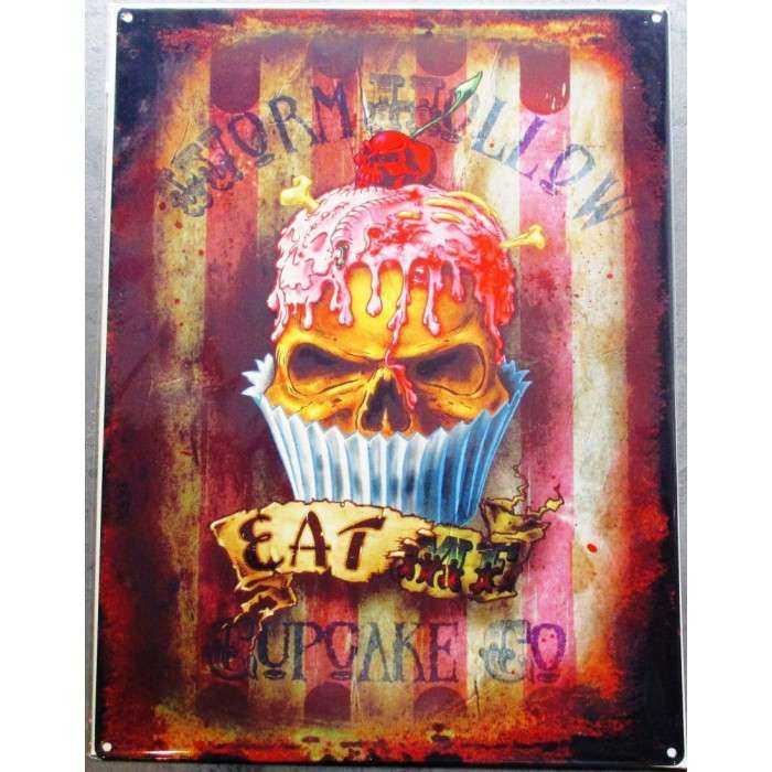 plaque  eat cupcake crane tete de mort 70x50cm tole deco us salon tatouage