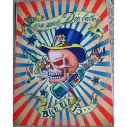 plaque  crane coloré  tete de mort 70x50cm tole deco us salon tatouage