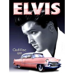 plaque elvis presley et cadillac 70x50cm tole deco us diner king rock roll