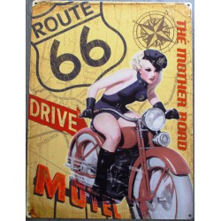 plaque  pin up moto route 66 road 70x50cm tole deco us diner loft