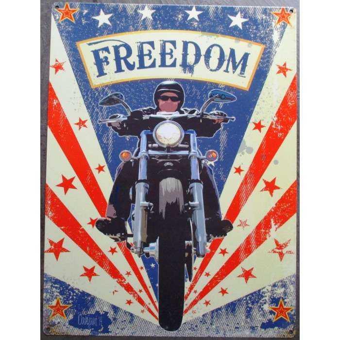 plaque  moto freedom motorcycle 70x50cm tole deco us diner loft