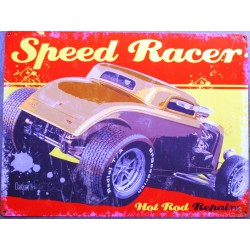 plaque  hot rod speed racer 70x50cm tole deco us diner loft