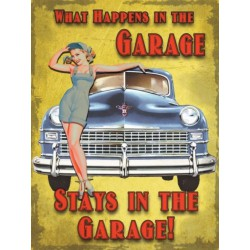 plaque  pin up garage voiture bleu 70x50cm tole deco garage us diner loft