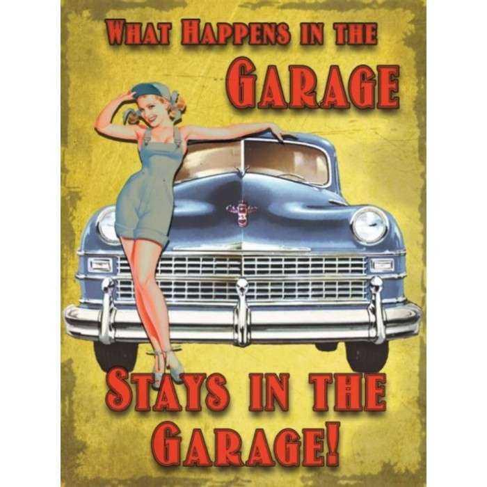 Plaque Pin Up Garage Voiture Bleu 70x50cm Tole Deco Garage