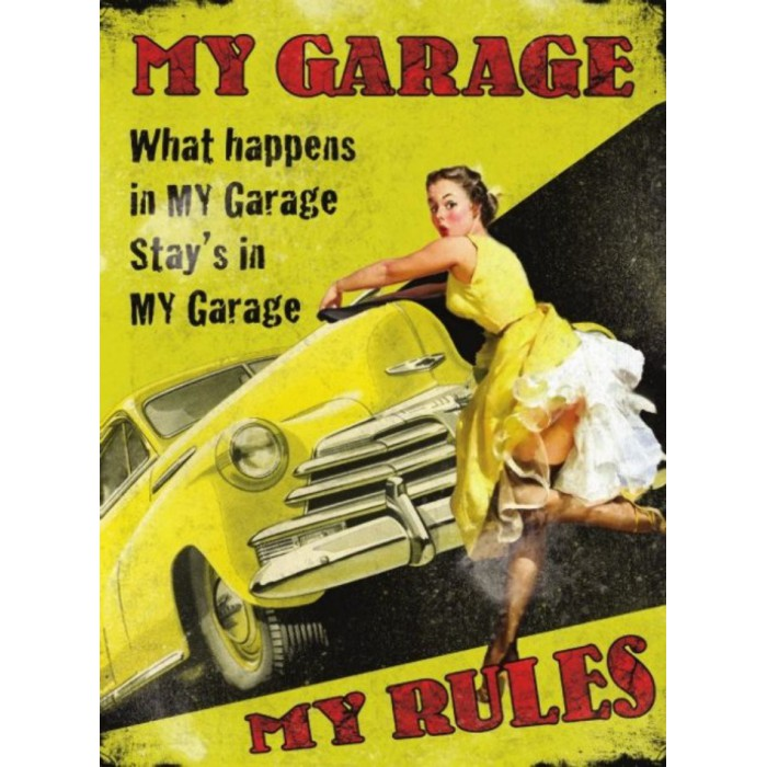 plaque  pin up my garage my rules voiture jaune70x50cm tole deco garage us diner loft