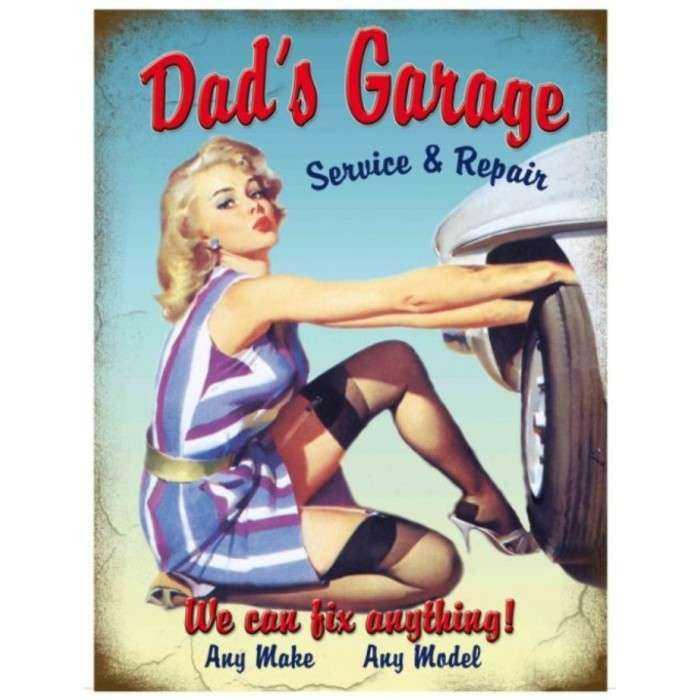 plaque  pin up dad's garage bleu 70x50cm tole deco  us diner loft bar