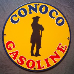 plaque emaillée conoco gasoline deco garage tole email pub metal