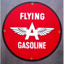 plaque emaillée flying gasoline ronde deco garage tole email pub metal