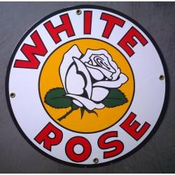 plaque emaillée white rose gasoline fleur ronde deco garage tole email pub metal