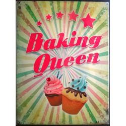 plaque cupcake baking queen reine des gateaux tole deco affiche