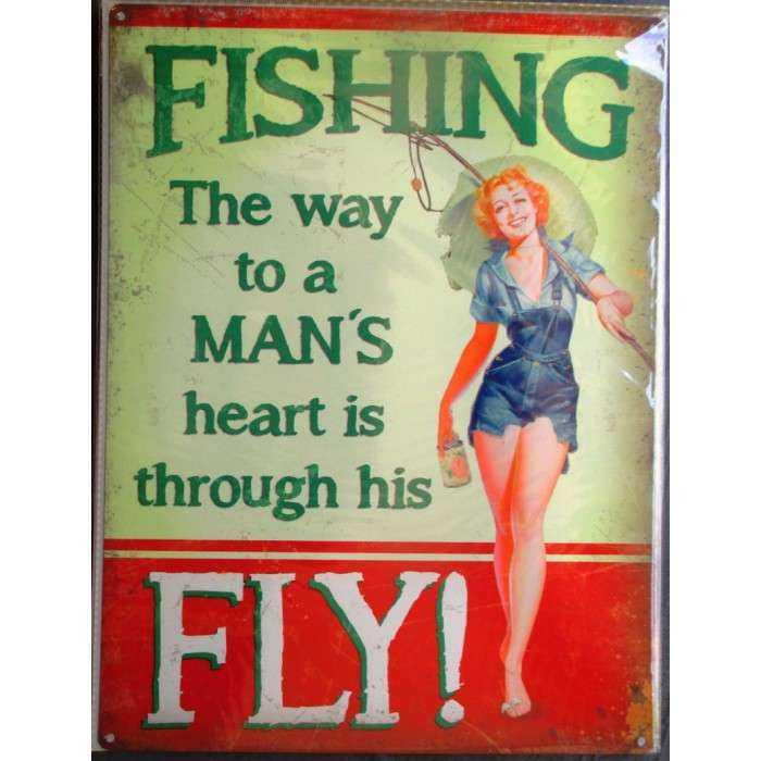 plaque pin upqui peche poisson tole metal style affiche retro 50's usa