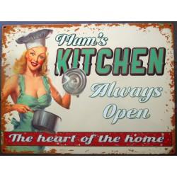 plaque pin up mum's kitchen cuisine toujours ouverte tole metal style affiche retro 50's usa