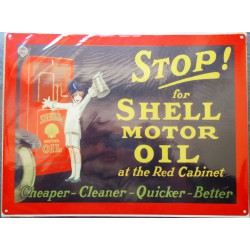 plaque stop for shell tole affiche metal deco garage huile esence