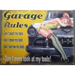 plaque  pin up garage rules avec voiture US 70x50cm tole deco diner loft bar
