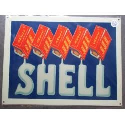 plaque  shell red can bidon d'uile rouge US 70x50cm tole deco diner loft bar