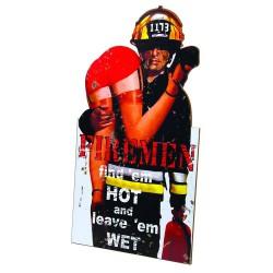 enseigne en bois pompier firemen humour deco caserne bar