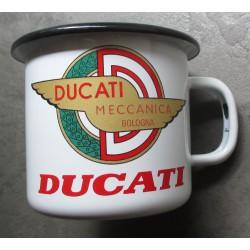 mug logo moto ducati méccanica blancen email tasse à café emaillée bar