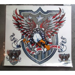 sticker aigle et blason 27x27cm  autocollant usa lethal thread