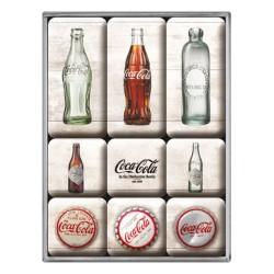 lot 9 magnet coca cola bouteille et capsule sur fond blanc aimant frigo