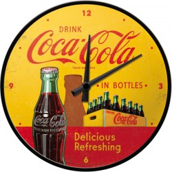 pendule metal ronde coca cola jaune et rouge bouteill et pack deco diner