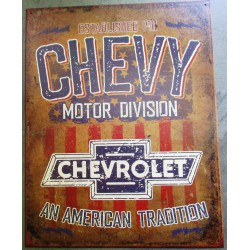 plaque chevrolet motor didvision  an american tradition tole publicitaire diner us