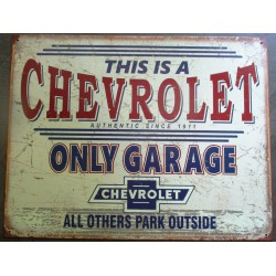 plaque chevrolet only garage since 1911tole publicitaire diner us garage