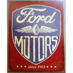plaque  ford motos logo tole publicitaire aspect rouillé  garage diner us garage