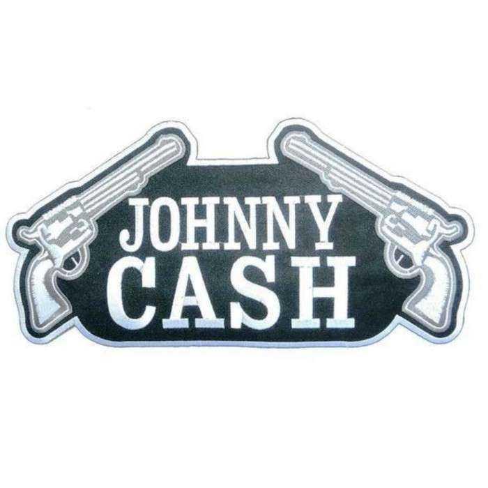 gros patch johnny cash et pistolet 27.5 cm  ecusson dos veste blouson