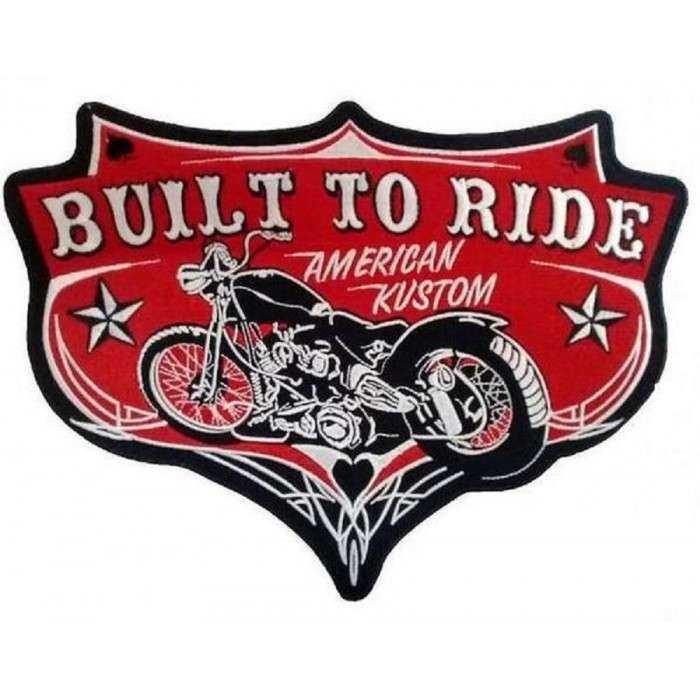 gros patch built to ride  moto americaine construit pour rouler 29 cm  ecusson dos veste blouson