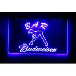 verre publicitaire neon budweiser bleu pin up streap teaseuse salon tattoo