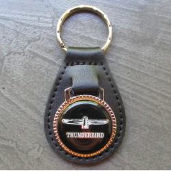 porte clé métal cuir thunderbird noir auto americaine collection