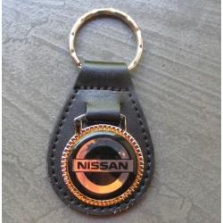 porte clé métal cuir nissan logo noir auto voiture